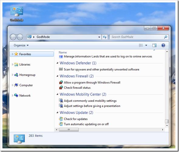 Windows 7 God Mode Screenshot